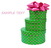 Ribbon bow on gift boxes with polka dots — Stock Photo