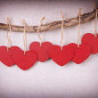 Stock Photo: Red wooden heart