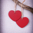 Two red wooden hearts — Stock Photo