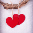 Two  wooden red  hearts hanging on a tree branch - Stock Photo