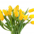 Bouquet of yellow tulips in a vase — Stock Photo