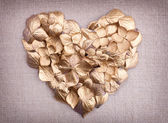 Golden hydrangea flower petals in the shape of a heart — Stock Photo