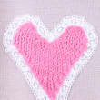 Knitted  pink retro heart — 图库照片