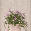 Stock Photo: Companulflowers in watering cam on wooden surface on vintage c