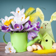 Crocus in  green watering can with easter eggs and decoration — Stock Photo