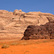 A variety of different rock colors in Wadi Rum desert in Jordan — Stock Photo