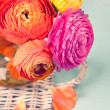 Colorful ranunculus flower on a wicker tray on vintage backgroun — Stock Photo