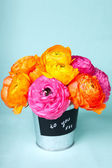 """Beautiful colorful ranunculus flowers in a bucket labeled """"to y — Stock Photo"""