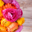 Bouquet of beautiful colorful ranunculus flower on wooden backgr — Foto de Stock