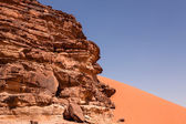 Rocky and sandy areas in the desert of Wadi Rum in Jordan — Stock Photo
