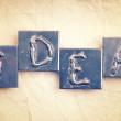 The word IDEA made from metal letters on an old vintage paper  — Stock fotografie