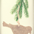 Vintage wooden bird decoration on christmas tree — Stock Photo