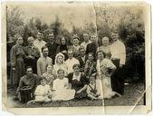 USSR, Ukraine - CIRCA, 1940s: Portrait of a big family. — Stock Photo