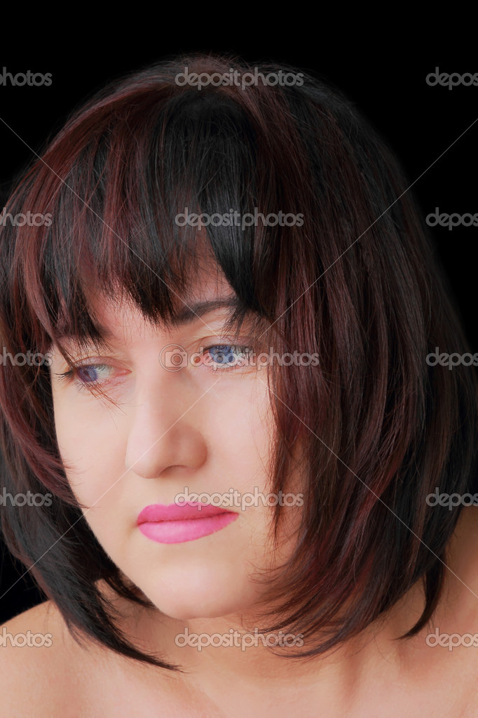 Portrait of woman with blue eyes and dark hair — Stock Photo #13163523