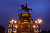Sculpture Russian emperor on horse in Petersburg — Stock Photo
