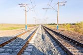 Landscape with railroad perspective — Stock Photo