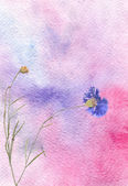 Colorful watercolor background with flower — Stock Photo