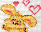Detail rabbit embroidery — Stock Photo