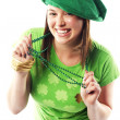 Irish young lady dressed for st patricks day — Stock Photo #13291424