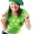 Irish young lady dressed for st patricks day — Stock fotografie