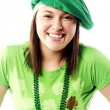 Irish young lady dressed for st patricks day — Stock Photo #13291428