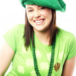 Irish young lady dressed for st patricks day — Stock Photo