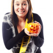 Young woman dressed in halloween costume — Stock Photo