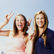 Two sisters interacting making peace sign — Stock Photo