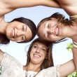 Three young beautiful girls having fun — Stock Photo