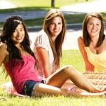 Girls having a pic nic — Stock Photo