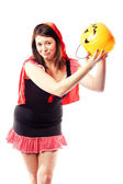 Girl in red riding hood costume no more treats — Stock Photo