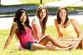 Girls having a pic nic — Stock Photo