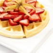 Golden Waffle with Strawberries - Stock Photo