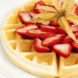 Golden Waffle with Strawberries — Stock Photo