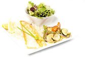 Salmon with side of salad — Stock Photo