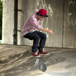 Skateboarder under overpass — Stock Photo