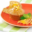 Fresh peach cake — Stock Photo