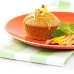 Fresh peach cake — Stock Photo