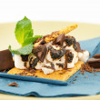 S'more on plate with chocolate and marshmellows — Stok fotoğraf