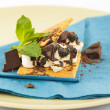 S'more on plate with chocolate and marshmellows — ストック写真