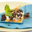 S'more on plate with chocolate and marshmellows — Photo #25966409