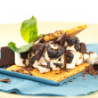 S'more on plate with chocolate and marshmellows — Stockfoto