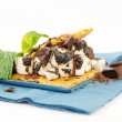 S'more on plate with chocolate and marshmellows — Stok fotoğraf #25966427