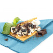 S'more on plate with chocolate and marshmellows — Stock Photo