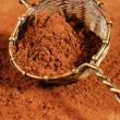 Cocoa powder in old rustic style silver sieve — Stockfoto