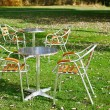 Royalty-Free Stock Photo: Two cafe tables in a park on green grass
