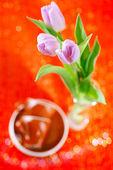 Flores de primavera de tulipa com copos de café — Fotografia Stock