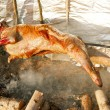 Lamb on the spit over open fire - Stock Photo