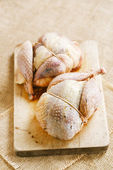 Two pheasants bird, plucked and stuffed on wood — Stock Photo