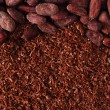 Cocoa beans and grated chocolate background - Stock Photo